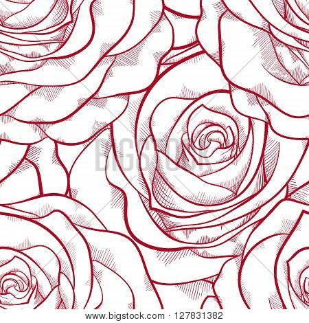 beautiful red and white seamless pattern in roses with contours. Hand-drawn contour lines and strokes. Perfect for background greeting cards and invitations of the wedding birthday Valentine's Day