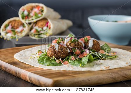 Vegan Falafel Wrap With Salsa