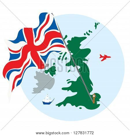 Island United Kingdom of Great Britain with the flag ships and aircraft