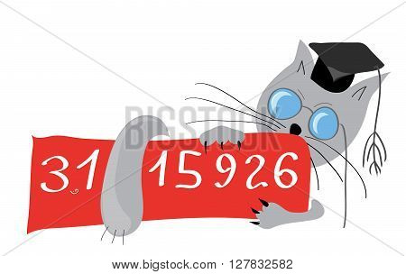 Scientist cat with a sign on which to write the number pi