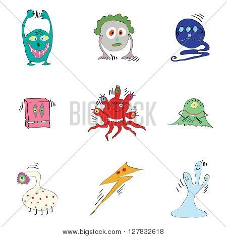 vector set of fictional monsters colored microbes bacteria viruses