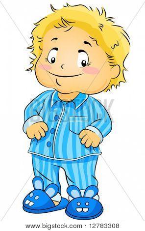Young Boy in PJs - Vector