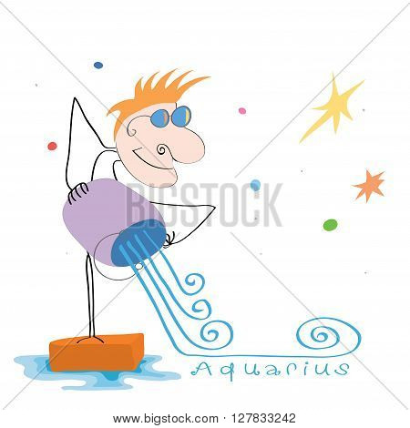 vector cheerful Aquarius man with a bucket pours water on the background of stars