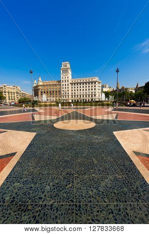 BARCELONA SPAIN - JUNE 12 2014: Catalunya square (Placa de Catalunya or Plaza de cataluna) is a large square in central Barcelona that is generally considered to city center