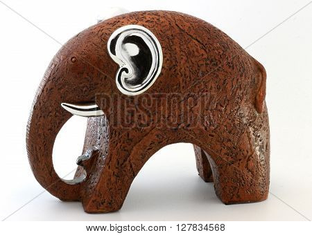 Elephant with Silver Ears on white Background ** Note: Soft Focus at 100%, best at smaller sizes