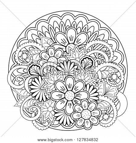 Monochrome mandalas and flowers with hand drawn elements. Image for adult and children coloring book pages tattoo. For decorate dishes cups porcelain ceramics shirts dresses bags tunics. eps 10.