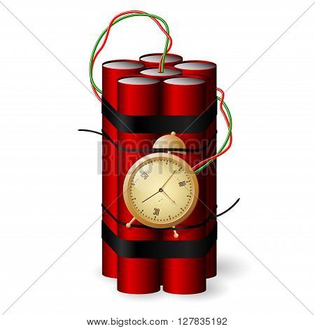 Red Bomb with clock timer icon isolated on white background