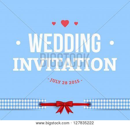 Blue Cute Wedding Invitation Card Template Vector Illustration