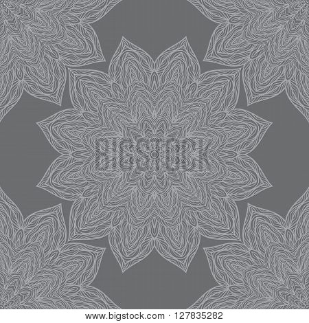 Vector Nature Seamless Pattern With Abstract Flowers.