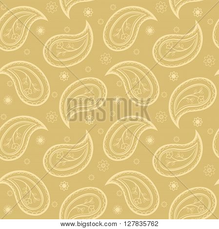 Ornament of floral paisley and flowers. Eastern vector seamless pattern. Template for textile wrapping wallpaper linen bedding.