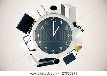 Office tools around big clock on light background. Time management concept. 3D Rendering