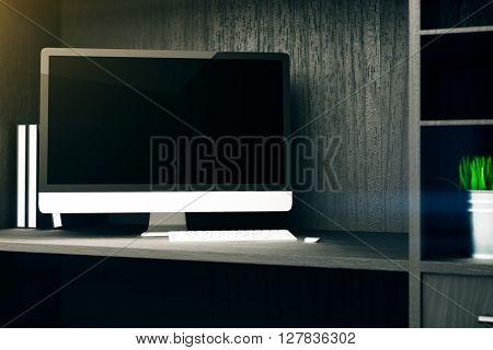 Blank computer monitor on wooden cupboard shelf. Mock up 3D Rendering