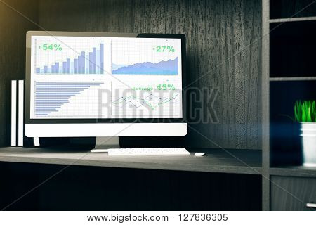 Computer monitor with business chart on cupboard shelf. 3D Rendering
