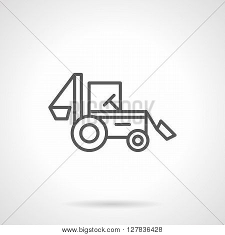 Agriculture industry. Farming machines and vehicles. A side view of backhoe tractor. Simple black line vector icon. Single element for web design, mobile app.