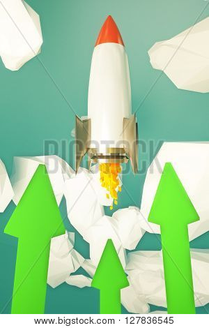 Startup Rocket Green Arrows