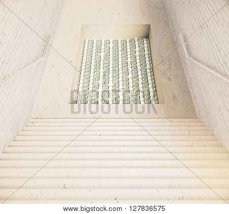 Stairway leading to hole filled with money. 3D Rendering