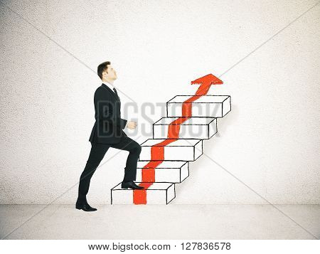 Success concept with businessman climbing ladder and red arrow sketch on concrete background