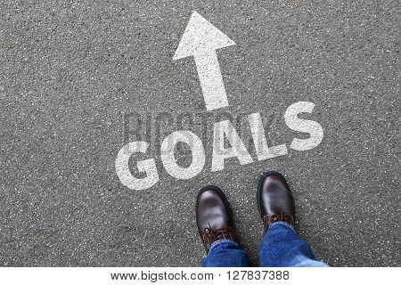 Goal Goals To Success Aspirations And Growth Businessman Business Man Concept