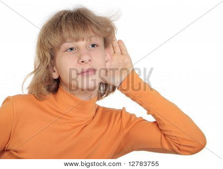 Teen In An Orange Turtleneck Overhears, Enclosing His Hand To His Ear