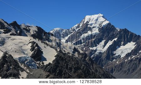 Mount Cook and glaciers. View from the Sealy Tarns Track.