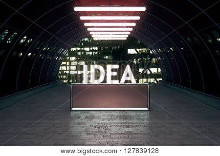 Idea concept with stand in tunnel illuminated by lamps. 3D Rendering