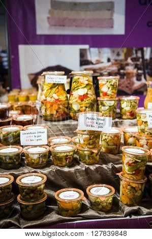 Traditional French Canned Vegetables At Market
