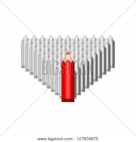 Red pencil leads gray. Vector EPS 10