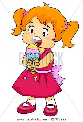Child Eating Ice Cream - Vector