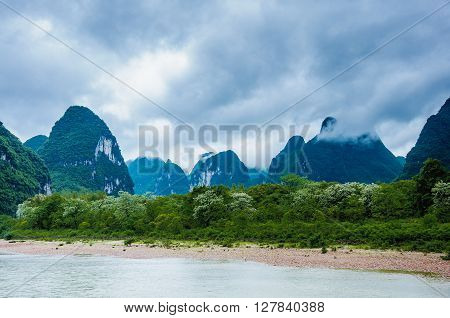 Beautiful karst mountains and river scenery, Guilin, China.