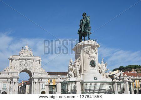 Arco da Rua Augusta and King Jose I equestrian monument in the famous Praca do Comercio square in Lisbon