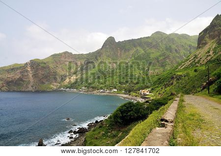 Cobblestone leading to the bay of Faja D'Agua on the island of Brava part of the archipelago of Cabo Verde.