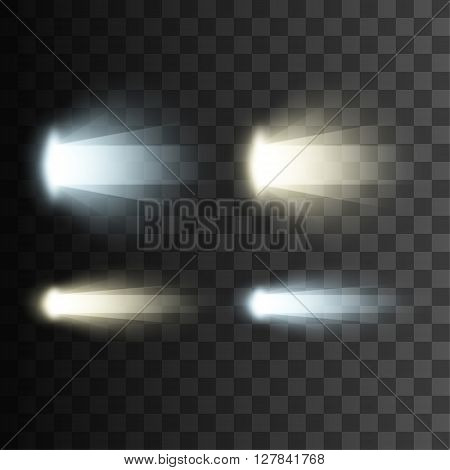 Rays of light. Vector light effects on transparent background. Glowing lights. Bright light. Abstract light effect.