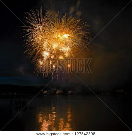 One fo the fireworks Ignis Brunensis  2014  at the Brno dam lake