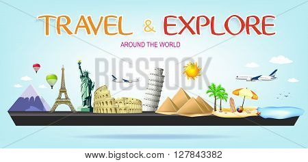 Travel and Explore Around the World Miniature Landscape with Famous Landmarks of the world on Blue Background
