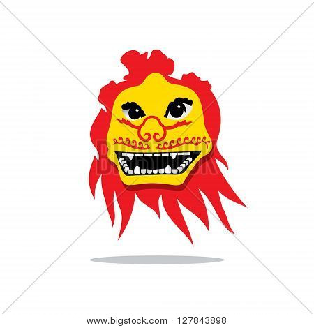 Chinese Dragon Mask traditional festival Isolated on a White Background