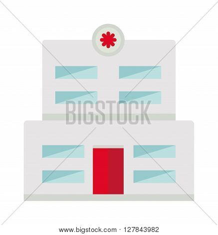 Hospital building high detailed vector illustration. Exterior sign architecture health medical modern hospital building. Hospital building hospital building facade center front icon.