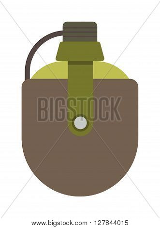 Army water canteen icon with case and military flask. Vector illustration of two military canteens or flasks. Jar of water use in the campaign military flask. Military flask drink bottle container.