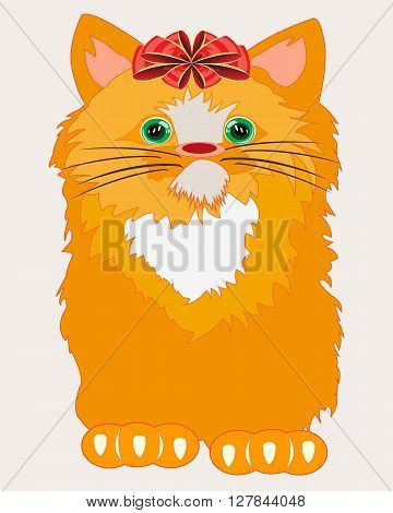The Nice redhead kitty with red bow on head.Vector illustration