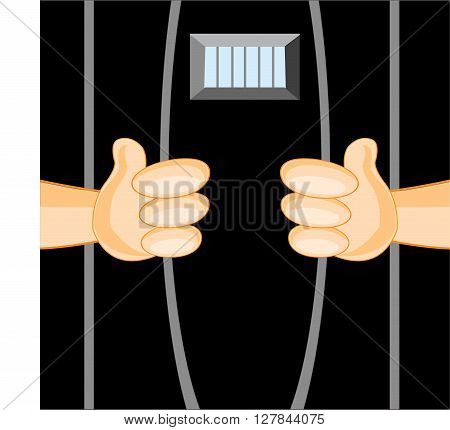 Hands of the person breaking bars of jail