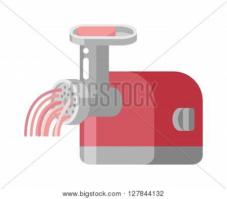Retro meat grinder front view vector illustration. Classic meat grinder. Old manual meat grinder. Meat grinder machine and cooking meat grinder appliance. Kitchen meat grinder utensil.