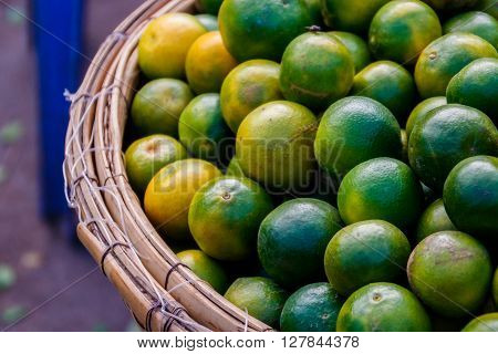 Basket of limes at the Phnom Penh market