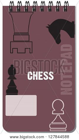 Notepad chess for notes on a spring. Vector illustration.