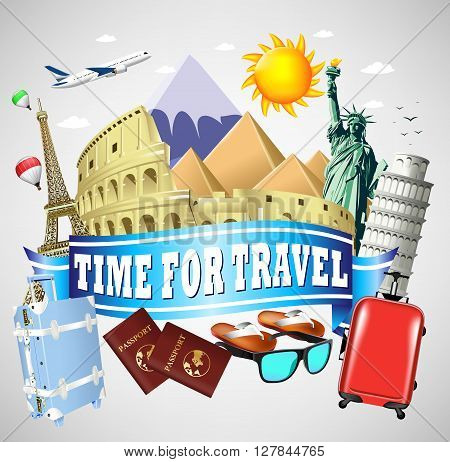 Time to Travel Blue Ribbon with famous Landmarks and Travel Objects