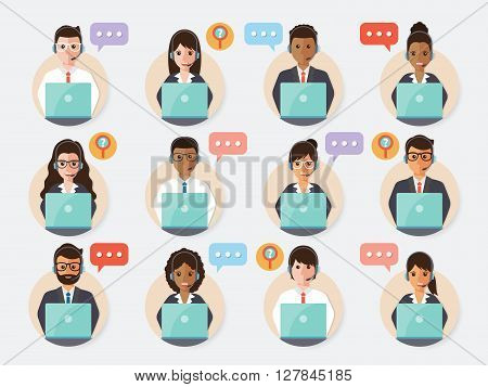 call center and customer service people icon