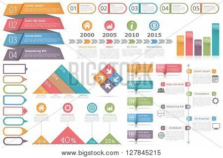 Infographic elements set - objects for text and numbers or icons, timeline, process diagram, bar chart, percents graphs, vector eps10 illustration