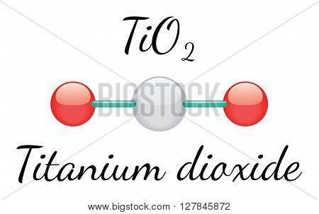 TiO2 titanium dioxide 3d molecule isolated on white
