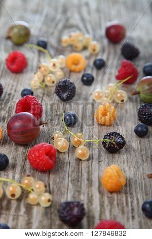 Various Ripe Berries On A Table