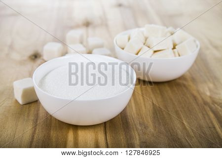 Sugar In A Wooden Bowls