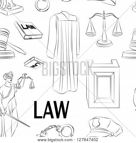Law hand drawn pattern- Lawbook, court building, magnifier, gavel, scales, paper scroll, briefcase and other