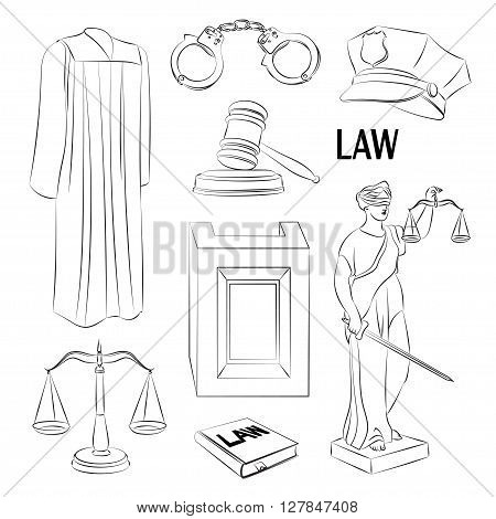 Law icons set- Lawbook, court building, magnifier, gavel, scales, paper scroll, briefcase and other